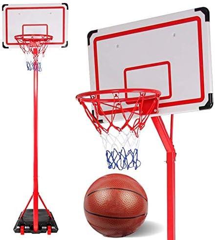 バックボード 調節可能なポータブルバスケットボールスタンドバックボードフープネットw/ホイールキッズ楽しい(誕生日ギフト) バスケットボールコート設備
