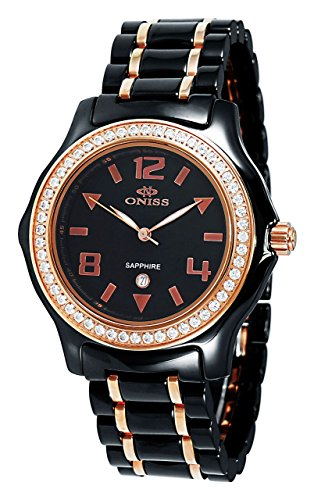 Oniss Swiss Movement - Oniss Paris Women'S ON806-Lrg Blk  Ladies, High Tech Ceramic Case and Band with Stainless Steel Middle Links ,Ip Rose Plating ,Swiss Movement, Sapphire Crystal, Mop Dial,52 Austrian Crystals on Bezel - Blue Watch