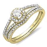 0.45 Carat (ctw) 14K Yellow Gold Round Diamond Bridal Halo Engagement Ring Set 1/2 CT (Size 7)