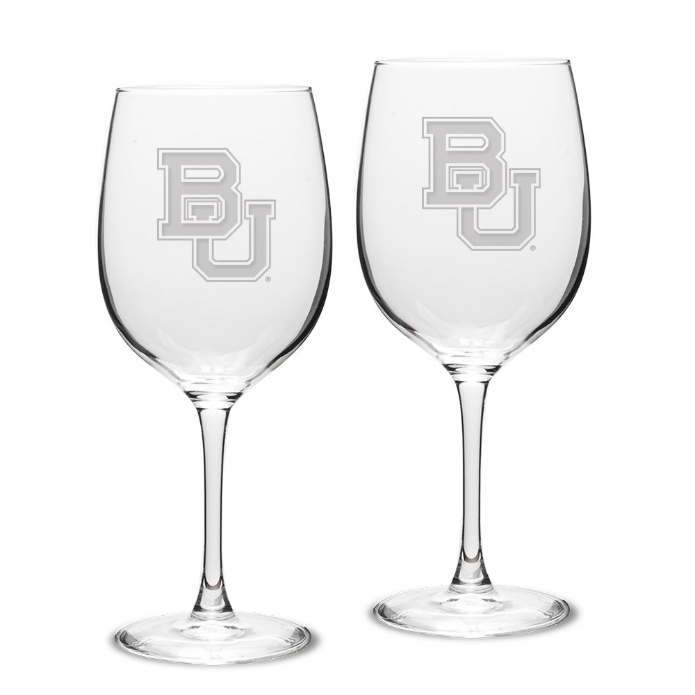 University Glass NCAA Baylor Bears Adult Set of 2-19 oz Robusto Red Wine Glasses Deep Etch Engraved, One Size, Clear