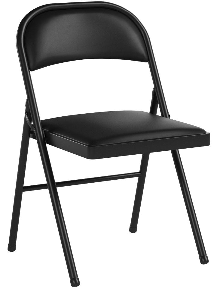 Meco 4 Pack Deluxe Vinyl Padded Folding Chair Black Lace And Black Vinyl Seat And Back Furniture Decor Amazon Com