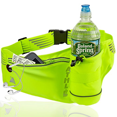 Athlé Running Fanny Pack with Water Bottle Holder - Adjustable Run Belt Storage Pouch with Zipper Pocket For Sports and Travel – 360° Reflective Band – Fits iPhone Plus, Galaxy Note – HighViz