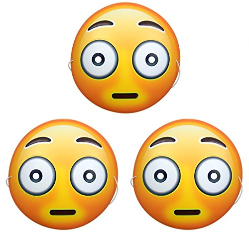 Dubster Brand Emoji Alarmed Flushed Face Character Costume Mask, Pack of 3