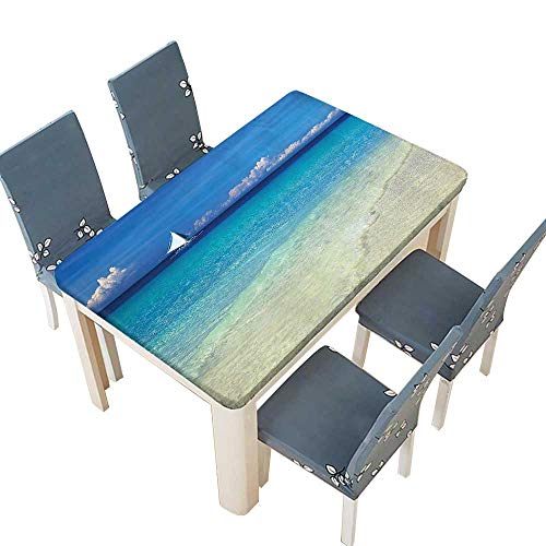 PINAFORE Table in Washable Polyeste Blue Sailboat Tropic in Philippines Horizon Paradise Banquet Wedding Party Restaurant Tablecloth W41 x L80.5 INCH (Elastic Edge)