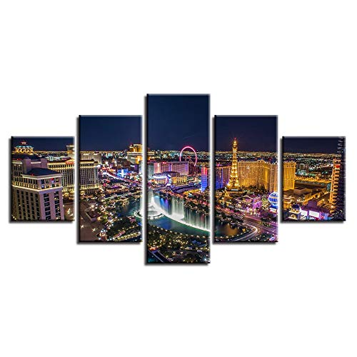 (SHUII Art Canvas Pictures Modular 5 Pieces Beautiful Ferris Wheel and Iron Tower Paris City Night View Paintings Decor Wall HD Prints 30x40cm 30x60cm 30x80cm )