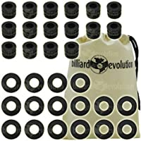 Set of 16 Ridged Rubber Bumpers & 16 Nylon Washers for Foosball Table & Billiard Evolution Drawstring Bag