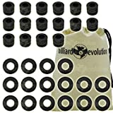 Set of 16 Ridged Rubber Bumpers & 16 Nylon Washers for Foosball Table & Billiard Evolution Drawstring Bag