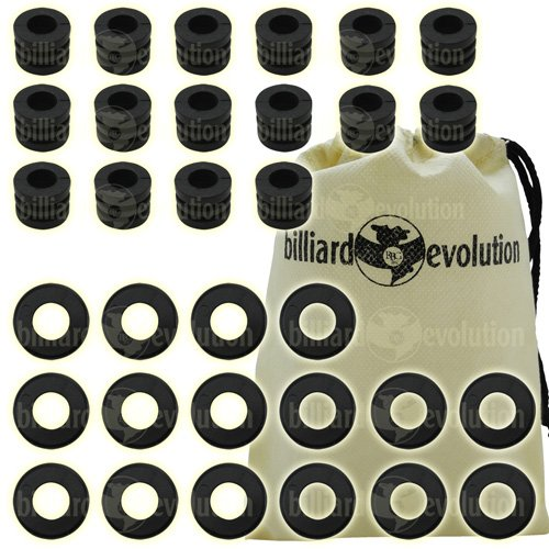 Set of 16 Ridged Rubber Bumpers & 16 Nylon Washers for Foosball Table & Billiard Evolution Drawstring Bag by Billiard Evolution