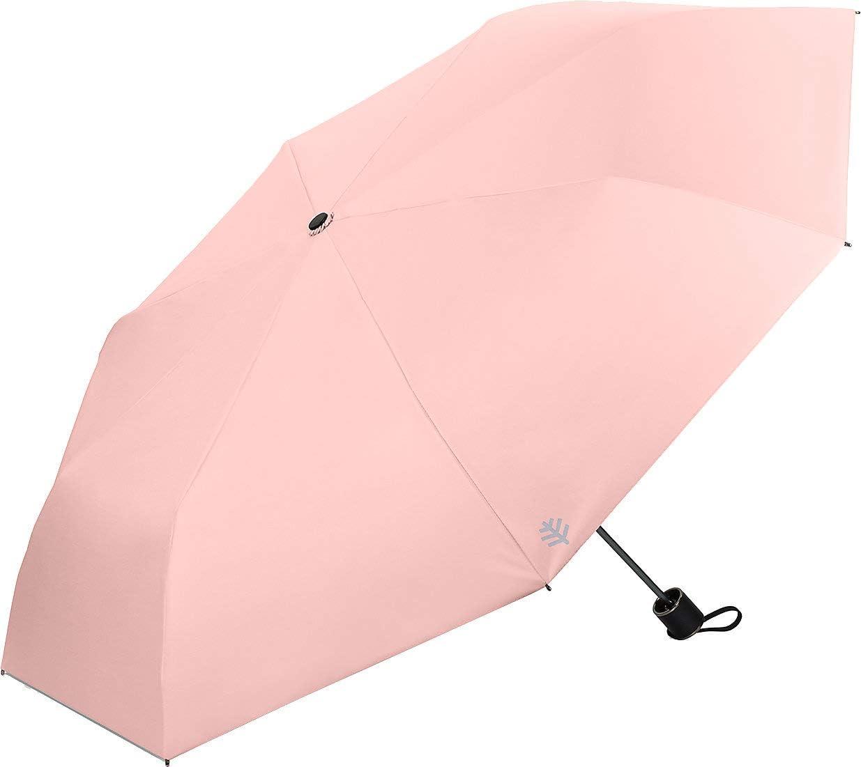 Coolibar UPF 50+ Bund Compact Umbrella - Sun Protective (One Size- Light Rose)