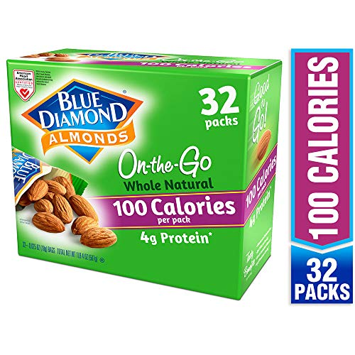 Blue Diamond Almonds Whole Natural Raw Almonds 100 Calorie On The Go Bags, 32 ()