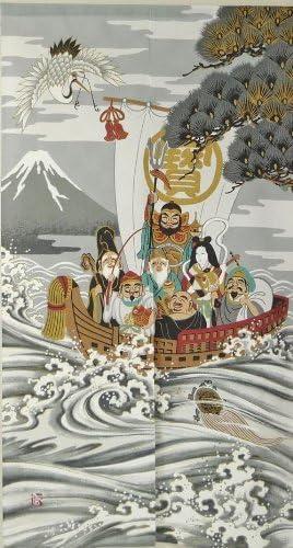 Noren Japanese Doorway Curtain 7 Lucky Gods Treasure Ship 85x150cm