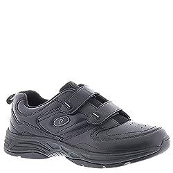 Propet Men's Warner Strap Walking Shoe, White/Navy, 12 3E US