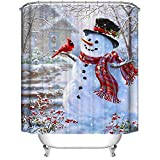 Christmas Shower Curtain, Merry Christmas Waterproof Polyester Shower Curtain with Hooks for Christmas Decoration - 60x70 Inches (Snowman and Cardinals)