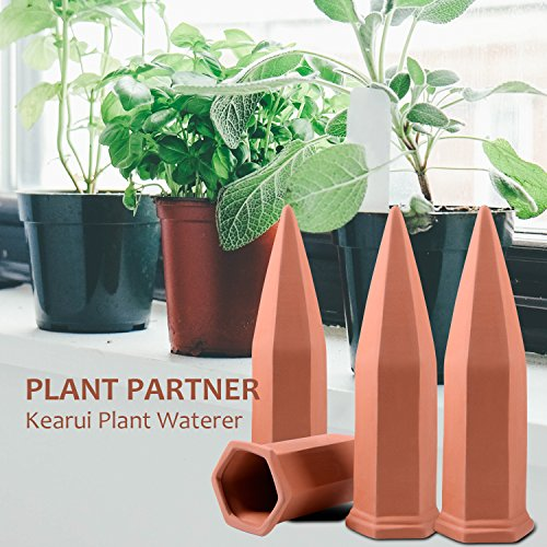 Plant Watering Spikes, Kearui Set of 4 Terracotta Self Watering Stakes Automatic Plant Watering Devices System for Indoor Outdoor Vocation Plant Watering by Kearui (Image #4)