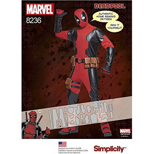 [Simplicity 8236 Men's Dead pool Costumes, A (X-Small/Small/Medium/Large/X-Large)] (Easy Marvel Costumes)