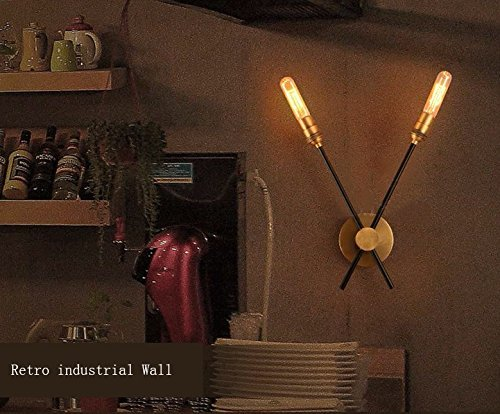 HOMEE Wall lamp- american vintage creative personality wall cafe restaurant aisle bar lamps living room warehouse wall lamp --wall lighting decorations ( shape : two ),Two by HOMEE