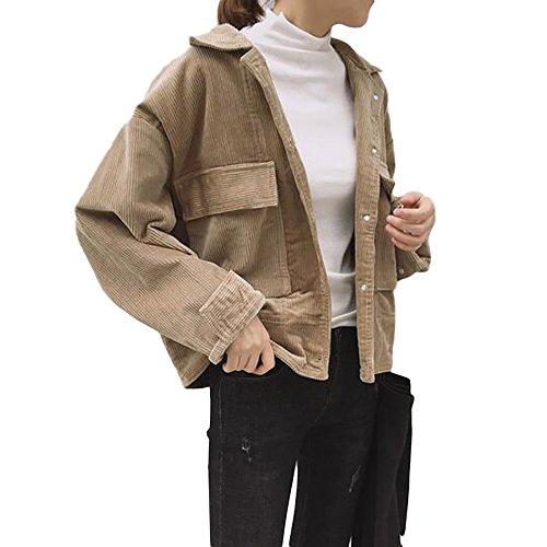 YOUMU Women Corduroy Jacket Top Shirt Coat Casual Vintage Oversize Loose Fashion Retro