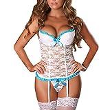 EVAbaby Plus Size Sexy Corset Lingerie Set Women Sex Exotic Wedding Garter Belt Floral Lace Sleepwear White XL