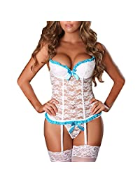 EVAbaby Plus Size Sexy Corset Garter Belt Lingerie Set for Women