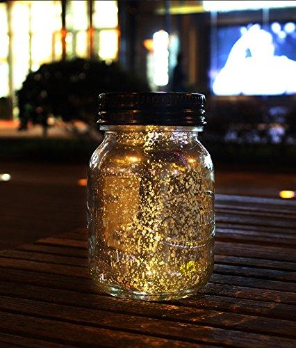 Neomark Solar Panel Sunlight Powered LED Star Moon Jar Bottle Light Home Courtyard Decoration by Neomark