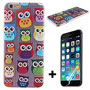 JJE Cute Owl Transparent Pattern Hard with Screen Protector Cover for iPhone 6