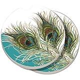 2 Pack Counter Art Absorbent Stoneware Car Coasters, Elegant Peacock
