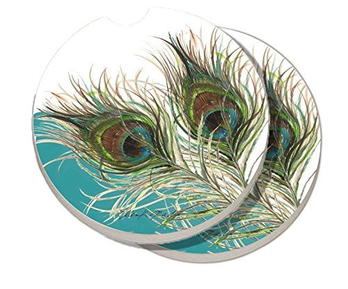 Peacock Coasters (2 Pack Counter Art Absorbent Stoneware Car Coasters, Elegant Peacock)