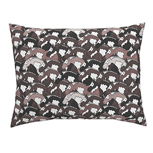 Roostery Horse Euro Knife Edge Pillow Sham Natural Painted Horses by Pond Ripple Natural Cotton Sateen made by