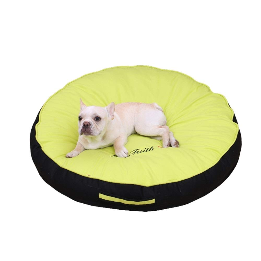 Green L 80x80x12cm Green L 80x80x12cm SHYPwM Pet Dog Lounge Sofa Small Dogs Cats Round Nest Bed Soft Cushion Couch Sleeping Mat Pad Pet Dog Sofa Bed (color   Green, Size   L 80x80x12cm)