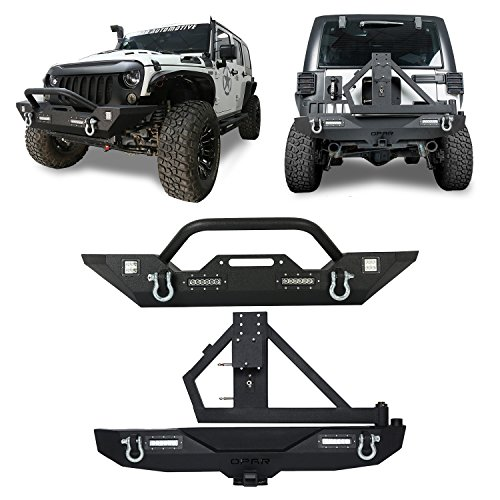 Hooke Road Different Trail Front Bumper + Rock Crawler Rear Bumper & Spare Tire Carrier Kit for 2007-2018 Jeep Wrangler JK JKU