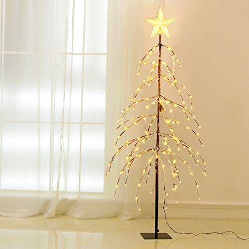 Excelvan 1.5M/5FT 176 LEDs Twinkle Star Upside-down Tree Lig