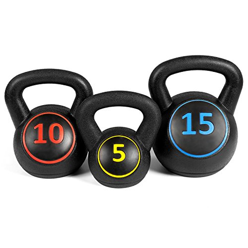 Best Choice Products 3 Piece Fitness HDPE Kettlebell Weights Set w/ Base Rack Black