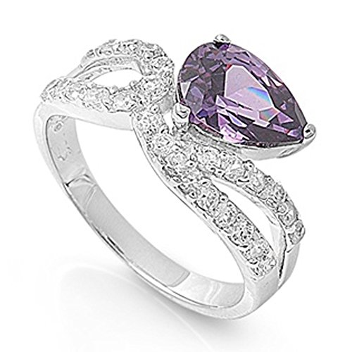 Simulated Amethyst Crossover Loop Teardrop Ring New 925 Sterling Silver Band Size 7