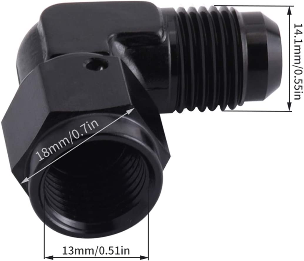 EVIL ENERGY 6AN Female to 6AN Male Flare 90 Degree Swivel Hose Fitting Adapter Aluminium Anodized Black