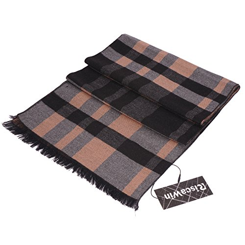 Orange Wool Mens Brick - RiscaWin Men New Plush Soft Cashmere Feel Solid Color and Hit Color Pattern Cozy Scarves (M Orange Plaid)