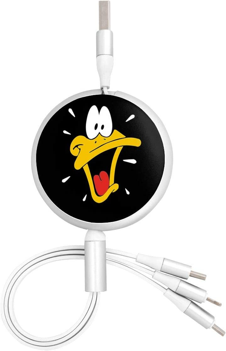 Daffy Duck USB Round Three-in-One Material Data ABS Cables Multi USB Charger CableRetractable Multiple Fasts Chargings Data line Protective Case