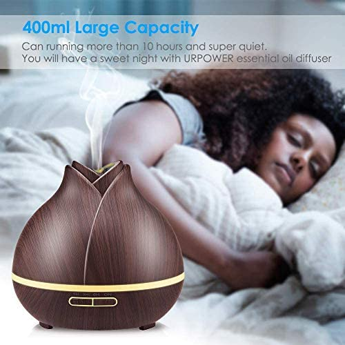 URPOWER 400ml Wood Grain Essential Oil Diffuser Running 10 Hours Aromatherapy Diffuser for Essential