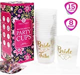 BACHELORETTE PARTY CUPS [Set of 15] + BONUS Confetti - Bride and Team Bride Tribe Cups for Bachelorette Party Decorations | She Said Yaaas + More | Bridal Shower Decorations and Hen Party Supplies