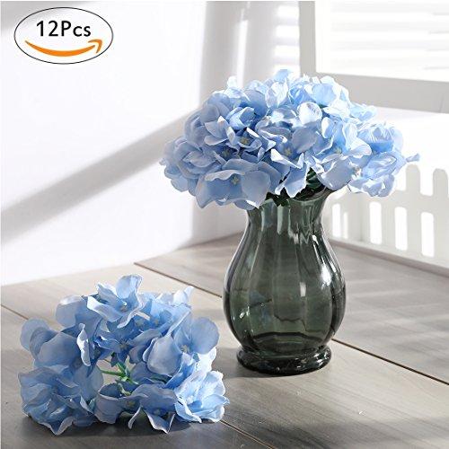 Veryhome 12pcs Blooming Silk Hydrangea Flower Heads for DIY Bouquets Wedding Centerpieces Home Decor (Sky (Blue Hydrangeas Centerpieces)