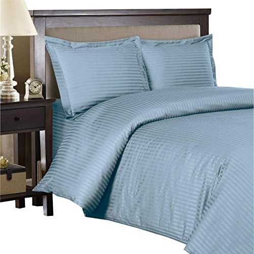 - Royal Hotel's 8pc California-King size Bed-in-a-Bag Striped Blue 300-Thread-Count Siberian Goose Down Alternative Comforter 100 percent Egyptian-Cotton 100% Cotton - includes sheets and Duvet Cover Sets