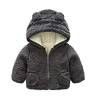 Fairy Baby Toddler Baby Unisex Cartoon Winter Thick Outwear Cute Hood Fleece Jacket Size 12-18M (Gray)