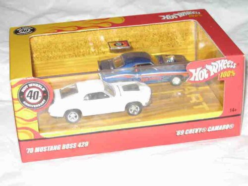 100% 2 Pack '69 Chevy Camaro Hardtrop And '70 Mustang Boss 429 Collector 2007 Hot Wheels 1:64 Scale Collectible Die Cast Cars