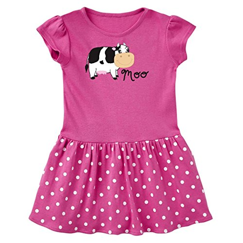 Moo Little Cow (inktastic - Moo says The Cow Toddler Dress 2T Raspberry with Polka Dots 1698e)
