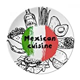 Mexico National Flag Cactus Sketch Dessert Plate Decorative Porcelain 8 inch Dinner Home