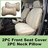 5N16103 Tan -Fabric 2 Front Car Seat Covers + 2 PU Leather Headrest Pillow Compatible To HYUNDAI ACCENT AZERA SONATA SONATA HYBRID SONATA PLUG-IN TUCSON TUCSON FUEL CELL 2018 2017 2016-2007