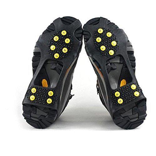 logei® Crampons pour Chaussure avec 10 Clous antidérapants pour Outdoor neige glace montagne Taille 39-46 Couleur Noir (une paire) 209020000