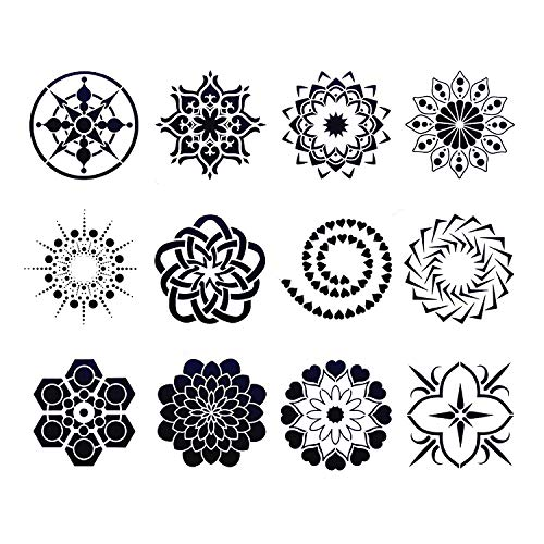 - 12pcs Mandala Painting Stencils Reusable Template for DIY Painting Art Projects Floor Airbrush and Walls Art, Just Let Your Imagination Run