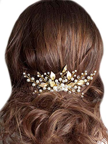 Unicra Bride Wedding Leaves Hair Combs Bridal Headpieces Hair Pieces Wedding Hair Accessories for Women and Girls (Gold)