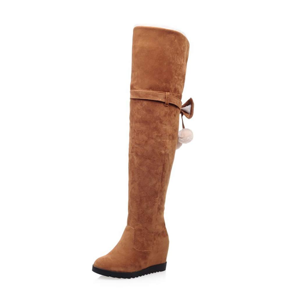 HY Damen Hohe Stiefel Wildleder Herbst/Winter Plus Kaschmir Overknee Stiefel/Ladies Inside Erhöhen Große Schneeschuhe Stiefel (Farbe : EIN, Größe : 33)