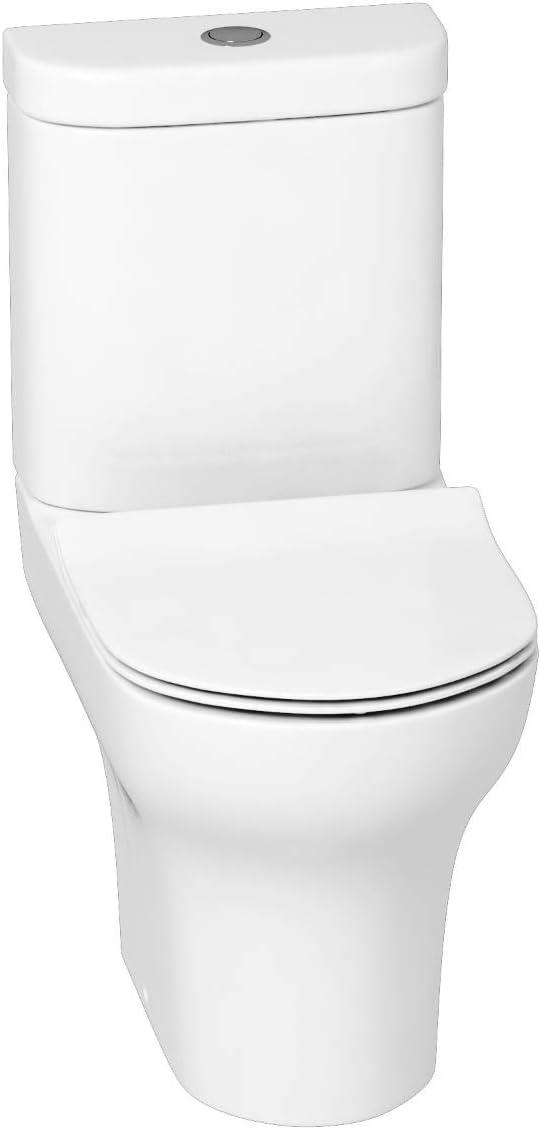 Set Bathroom Cloakroom Suite 500mm Indigo Grey Gloss 2 Door Floor Standing Vanity Unit with Mid Edge Basin /& Breeze Close Coupled Toilet Pan